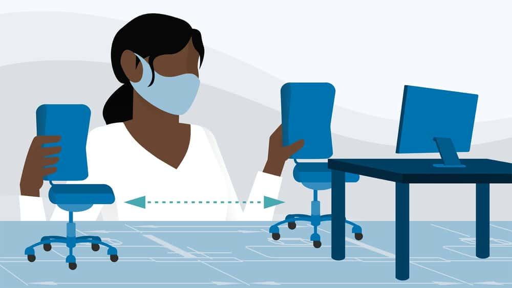 آموزش مدیریت امکانات: فاصله اجتماعی و PPE