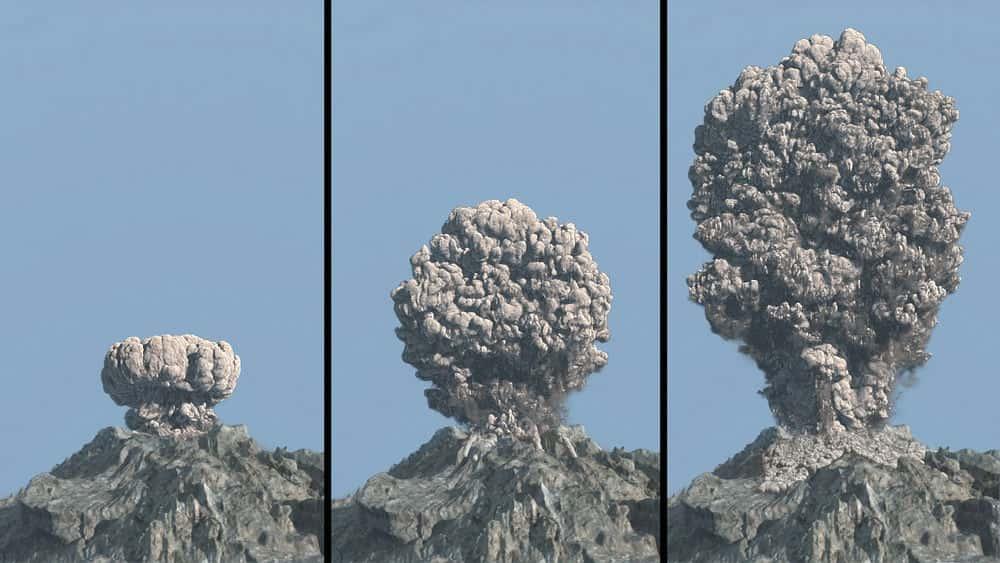 آموزش شبیه سازی انفجار آتشفشان در مایا