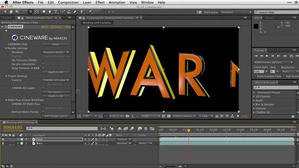 آموزش After Effects Guru: کار با 3D در C4D Lite