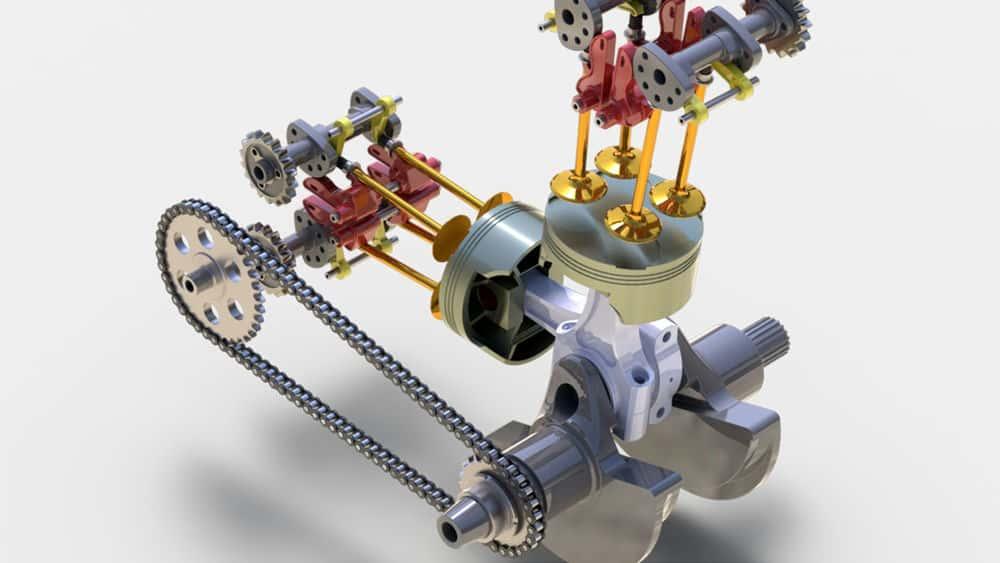 آموزش مدل سازی موتور موتور سیکلت با SOLIDWORKS