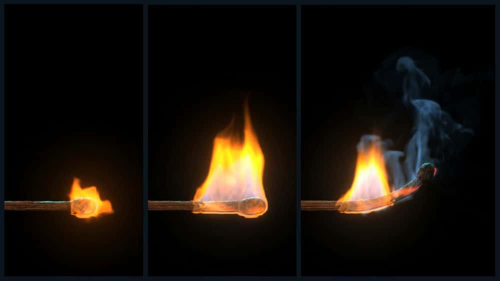 آموزش شبیه سازی اثر Burning Matchstick در مایا