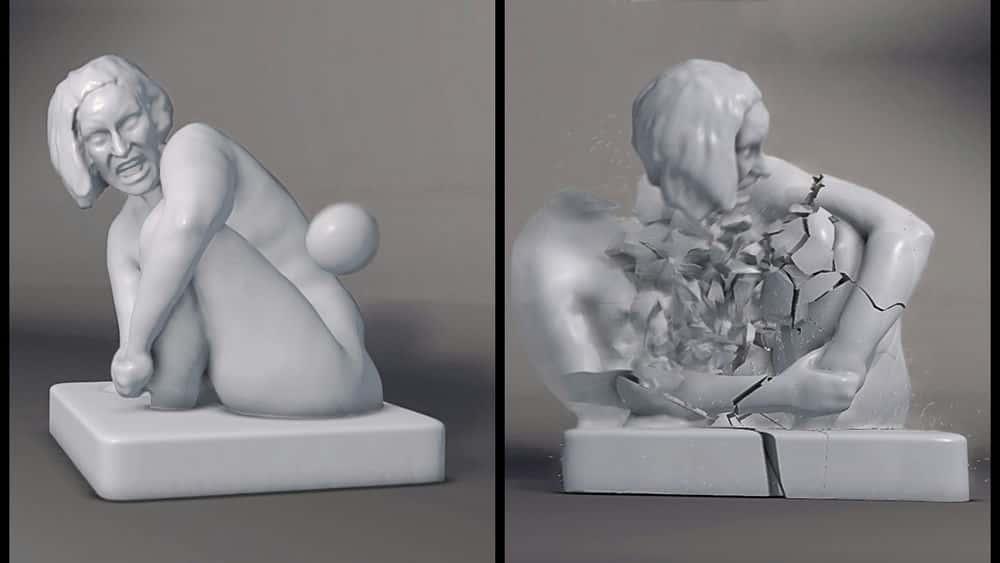 آموزش درهم شکستن یک مجسمه با استفاده از فیزیک گلوله در مایا