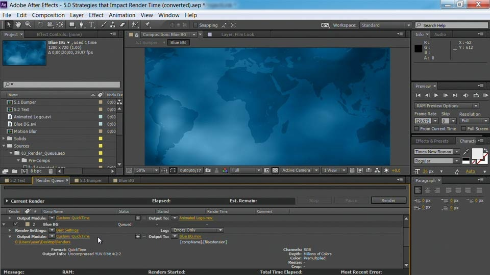 آموزش After Effects Guru: پیش نمایش سریعتر و رندر